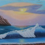 """Картины и панно ручной работы. Ярмарка Мастеров - ручная работа """"Море бездонное, нежно манящее..."""" Картина маслом Морской пейзаж. Handmade."""
