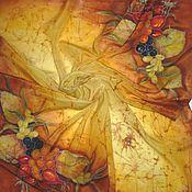 """Аксессуары ручной работы. Ярмарка Мастеров - ручная работа Батик платок""""Ягодная осень""""крепдешин , 90-90 см, натуральный шёлк.. Handmade."""
