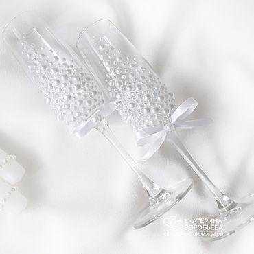 Свадебный салон ручной работы. Ярмарка Мастеров - ручная работа Свадебные бокалы с полужемчужинами. Handmade.