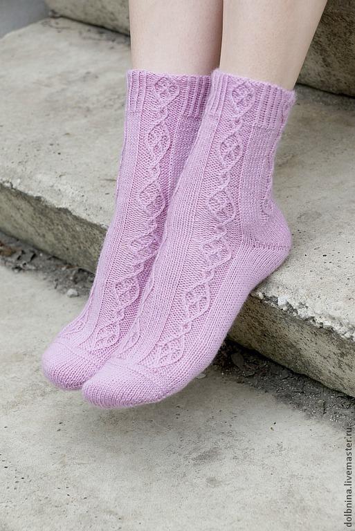 Носки, Чулки ручной работы. Ярмарка Мастеров - ручная работа. Купить Женские вязаные носки сиреневые. Handmade. Сиреневый