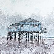 Картины и панно ручной работы. Ярмарка Мастеров - ручная работа Пляжный домик. Handmade.