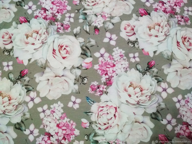 Футер Цветы на сером отрез 50х50, Ткани, Лысьва,  Фото №1