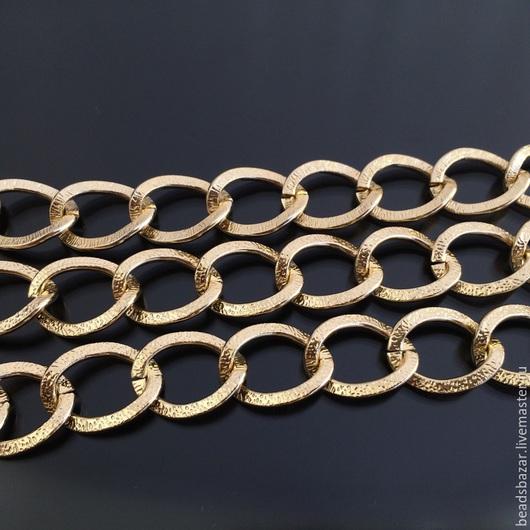 Для украшений ручной работы. Ярмарка Мастеров - ручная работа. Купить Цепь крупная с насечкой 16х20 мм, золото. Handmade.