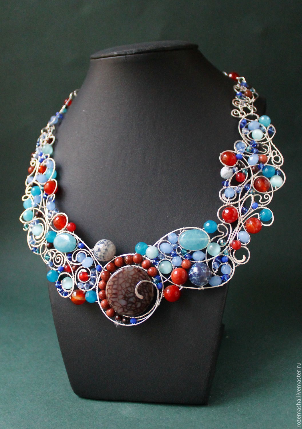 Necklaces & Beads handmade. Livemaster - handmade. Buy Necklace Mint Cappuccino (option).Wire wrap, blue, fashion necklace