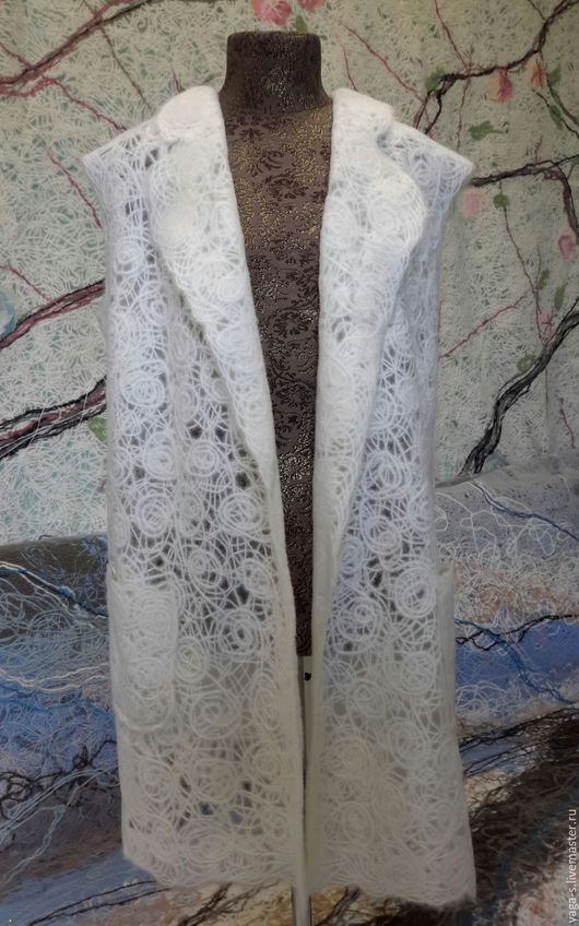 """Жилеты ручной работы. Ярмарка Мастеров - ручная работа. Купить Удлиненный жилет """"Флёрдоранж"""". Handmade. Белый, Жилет ручной работы"""