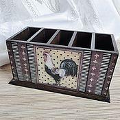 Для дома и интерьера handmade. Livemaster - original item Stand for remotes and phones Petushki, decoupage. Handmade.