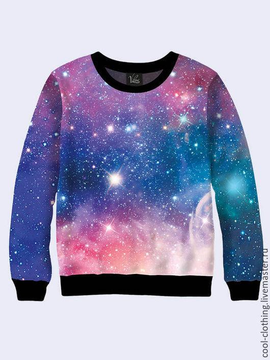 """Кофты и свитера ручной работы. Ярмарка Мастеров - ручная работа. Купить Свитшот """"Галактика"""". Handmade. Разноцветный, женская кофта, звезды"""