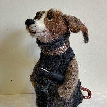Куклы и игрушки ручной работы. Ярмарка Мастеров - ручная работа Пес Питерский с зонтиком 22 см.Собака из шерсти. Валяная игрушка. Handmade.