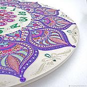 """Часы классические ручной работы. Ярмарка Мастеров - ручная работа """"Персидская сирень"""" часы большие с росписью фиолетовые. Handmade."""