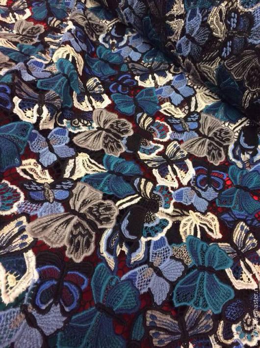 """Шитье ручной работы. Ярмарка Мастеров - ручная работа. Купить Кружевное полотно """"Butterfly"""" Valentino (оригинал). Handmade. Тёмно-синий"""