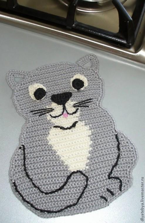 """Кухня ручной работы. Ярмарка Мастеров - ручная работа. Купить Прихватка """"Хитрый кот"""". Handmade. Серый, белый"""