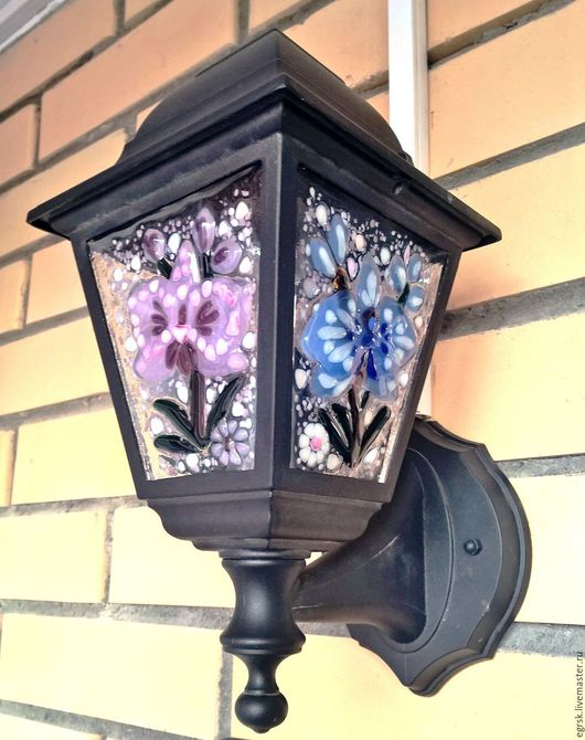 """Освещение ручной работы. Ярмарка Мастеров - ручная работа. Купить Фонарь """"Орхидея"""" фьюзинг. Handmade. Бледно-розовый"""