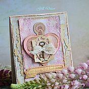 """Свадебный салон ручной работы. Ярмарка Мастеров - ручная работа Свадебная открытка """"Two hearts"""". Handmade."""