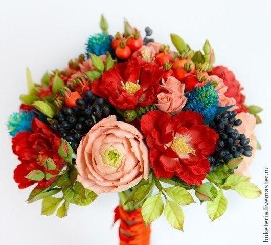 Цветы ручной работы. Ярмарка Мастеров - ручная работа. Купить Букет невесты из полимерной глины с ягодами. Handmade. Букет невесты