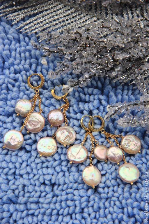 """Серьги ручной работы. Ярмарка Мастеров - ручная работа. Купить """"Мыльные пузыри!""""Позолоченные серьги.. Handmade. Монетки, жемчужные серьги"""