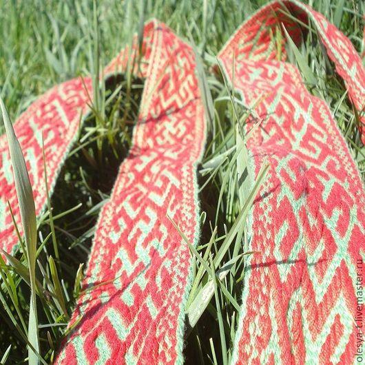 """Ткачество ручной работы. Ярмарка Мастеров - ручная работа. Купить Пояс """"Инглия, Цветок папор-ка и Одолень трава"""" зелёно-красный. Handmade."""