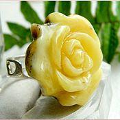 """Украшения ручной работы. Ярмарка Мастеров - ручная работа Кольцо """"Красавица роза""""  янтарь посеребрение. Handmade."""