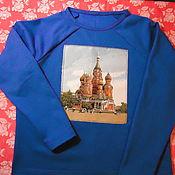 Одежда handmade. Livemaster - original item Sweatshirt sweatshirt with tapestry Saint Basil`s Cathedral. Handmade.