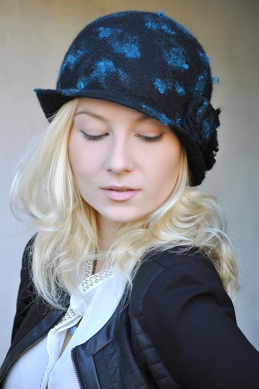 """Шляпы ручной работы. Ярмарка Мастеров - ручная работа. Купить Шляпка """"Бирюзовые капли"""". Handmade. Шапка, черный, бирюзовый"""