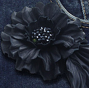 Украшения handmade. Livemaster - original item Leather flowers. Decoration brooch hairpin DENIM JEANS.DARK BLUE FLOWER. Handmade.