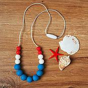Одежда ручной работы. Ярмарка Мастеров - ручная работа Слингобусы силиконовые красно-бело-синие морские. Handmade.