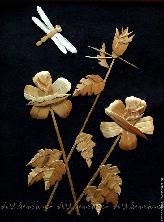 Картины цветов ручной работы. Ярмарка Мастеров - ручная работа. Купить Розы (картина из соломы). Handmade. Золотой, розы