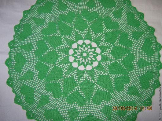 Текстиль, ковры ручной работы. Ярмарка Мастеров - ручная работа. Купить Салфетка сердечки и ромбы.. Handmade. Зеленый, сердечки, ромбы