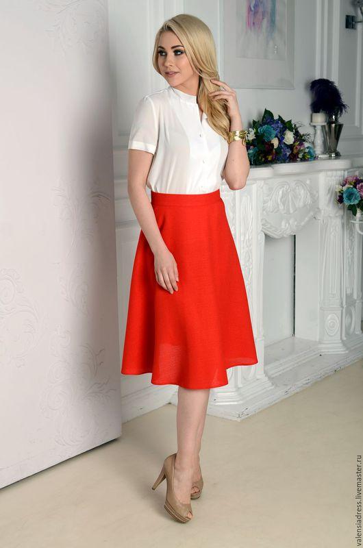 юбка женская, юбка красная, юбка полусолнце