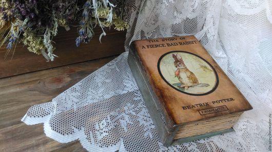 """Шкатулки ручной работы. Ярмарка Мастеров - ручная работа. Купить Книга-шкатулка """"FIERCE BAD RABBIT"""". Handmade. Оранжевый"""