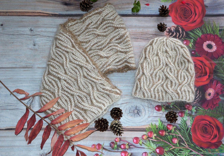Set in the technique of Brioche ' downy female, Headwear Sets, Urjupinsk,  Фото №1