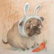 """Картины и панно ручной работы. Ярмарка Мастеров - ручная работа Мопсик. """"Я, не ел вашу морковь..."""". Handmade."""
