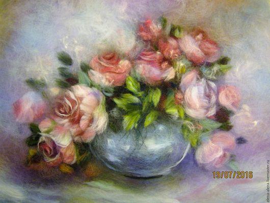 Картины цветов ручной работы. Ярмарка Мастеров - ручная работа. Купить Картина из шерсти Розовые розы. Handmade. Розовый