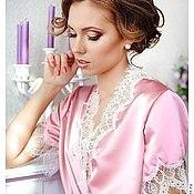 Одежда ручной работы. Ярмарка Мастеров - ручная работа Имя Розы - пеньюар из розового атласа с кружевом шантильи. Handmade.