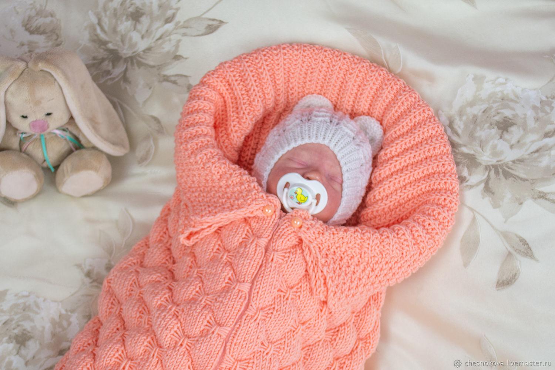 Конверт для новорожденного. Конверт-кокон.Вязанный конверт, Конверты на выписку, Красноярск,  Фото №1