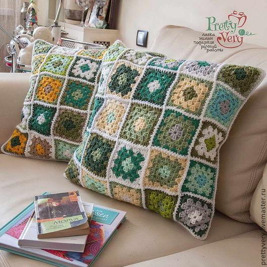 Текстиль, ковры ручной работы. Ярмарка Мастеров - ручная работа. Купить Подушка. Handmade. Подушка на диван, кровать, оттенки зеленого