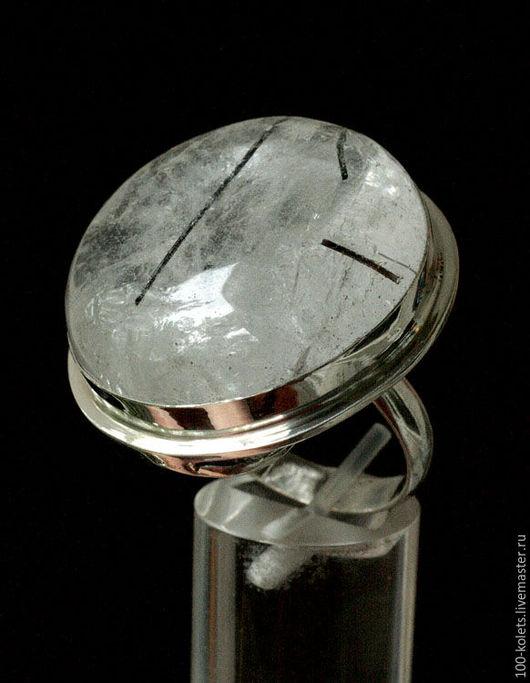 Кольца ручной работы. Ярмарка Мастеров - ручная работа. Купить Кольцо с кварцем-волосатиком. Handmade. Чёрно-белый, кварц в серебре