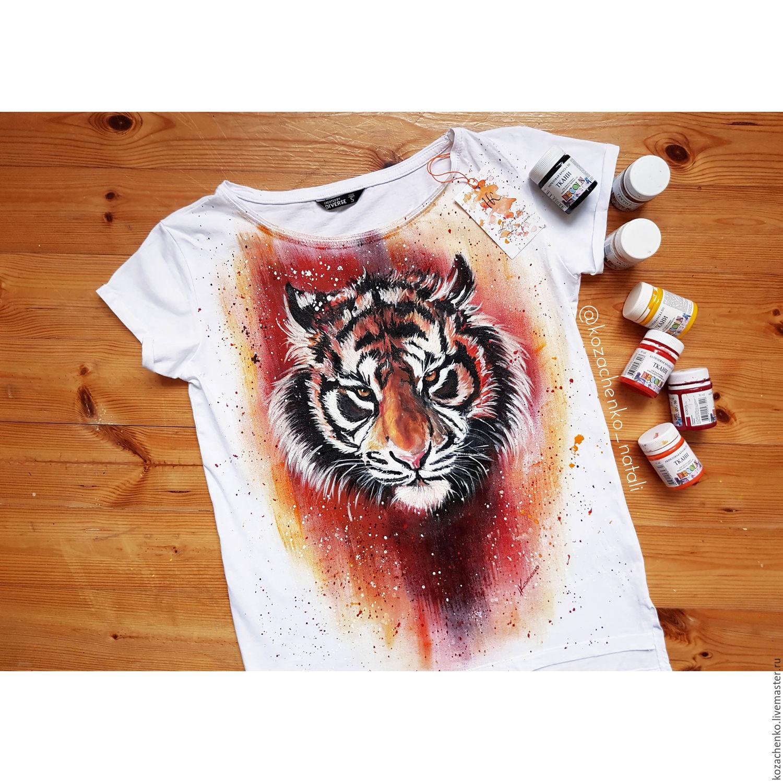 "T-shirt with hand painted ""Tiger"", T-shirts, Kaliningrad,  Фото №1"