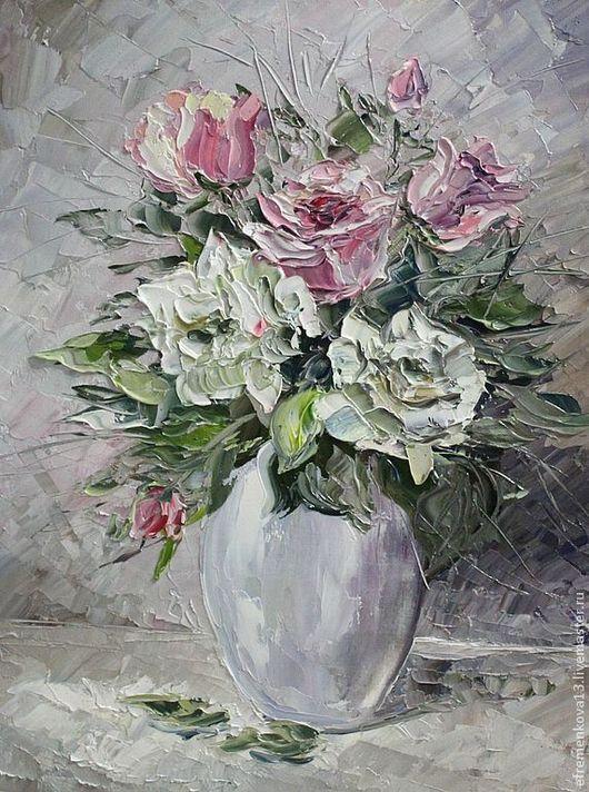 """Картины цветов ручной работы. Ярмарка Мастеров - ручная работа. Купить Картина """"Розы"""". Handmade. Белый, картина для интерьера, масло"""