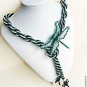 Украшения ручной работы. Ярмарка Мастеров - ручная работа Комплект из бисера Изумрудные стрекозы. Handmade.
