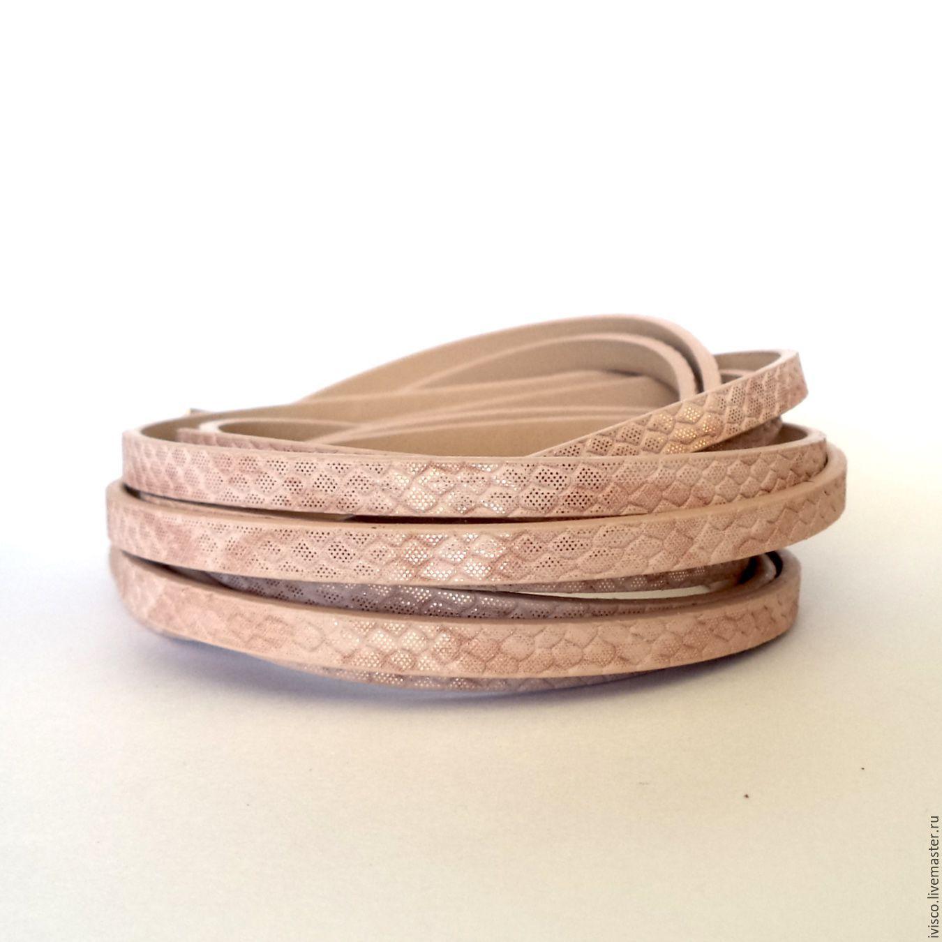 Шнур PU 5х2мм  розово-золотой с принтом под змею, Шнуры, Афины, Фото №1