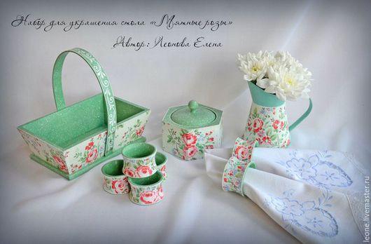Набор для кухни «Мятные розы»; Леонова Елена. Ярмарка мастеров.
