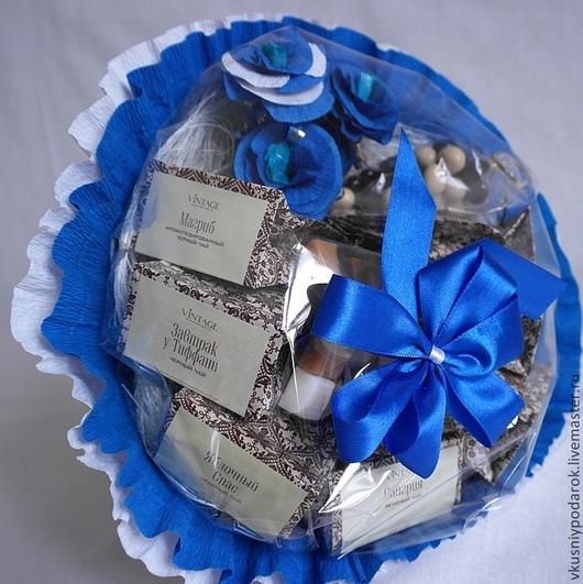 """Букеты ручной работы. Ярмарка Мастеров - ручная работа. Купить Чайный букет """"Синий"""". Handmade. Тёмно-синий, 8 марта"""