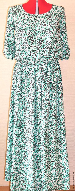 Платья ручной работы. Ярмарка Мастеров - ручная работа. Купить Платье длинное летнее. Handmade. Комбинированный, белый, платье с рукавом