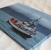 """Картины и панно ручной работы. Ярмарка Мастеров - ручная работа Фотокартина на холсте  """"Пейзаж с кораблем"""". Handmade."""