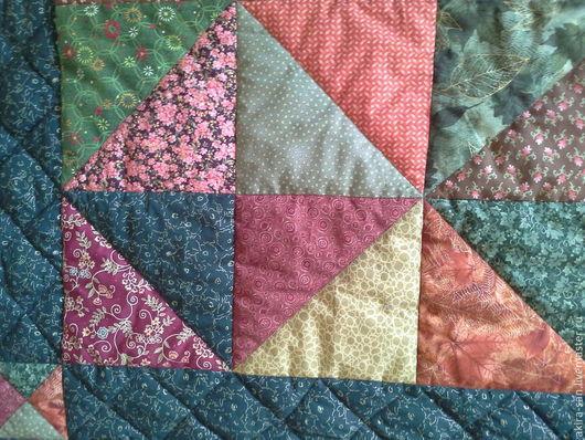 Текстиль, ковры ручной работы. Ярмарка Мастеров - ручная работа. Купить Одеяло лоскутное Косятчатое. Handmade. Зеленый, покрывало пэчворк