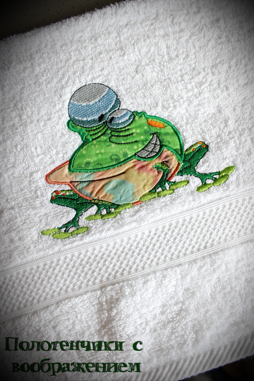 Ванная комната ручной работы. Ярмарка Мастеров - ручная работа. Купить Лягух. Полотенце из хорошей компании.. Handmade. Полотенце для ребёнка