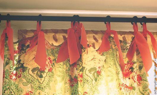 """Текстиль, ковры ручной работы. Ярмарка Мастеров - ручная работа. Купить Шторы """"Огурцы и розы"""". Handmade. Шторы, шторы на завязках"""