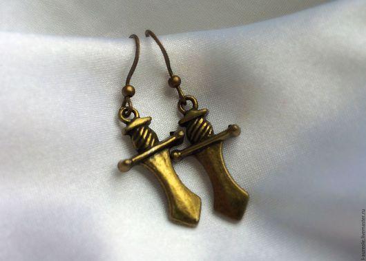 """Серьги ручной работы. Ярмарка Мастеров - ручная работа. Купить Рыцарский меч"""" серьги под античную бронзу. Handmade. Рыцарь"""