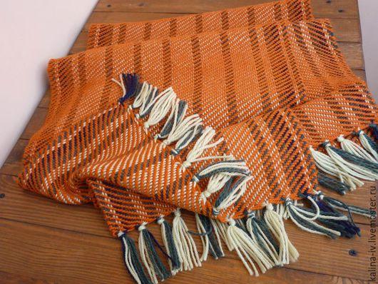 Шарфы и шарфики ручной работы. Ярмарка Мастеров - ручная работа. Купить шарф тканый терракотовый. Handmade. Женский шарф, шерстяной