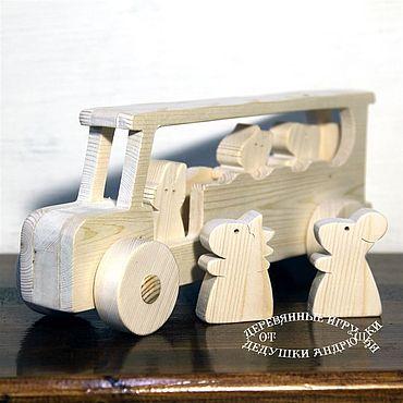 """Куклы и игрушки ручной работы. Ярмарка Мастеров - ручная работа Автобус из дерева. """"Мы едем, едем, едем"""". Игрушки для детей.. Handmade."""